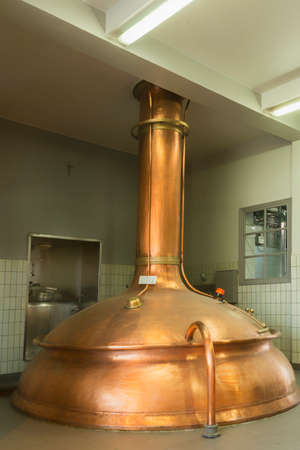brew house: Brewing vessel as seen at Brewery De Brabandere in Bavikhove, Belgium  Editorial