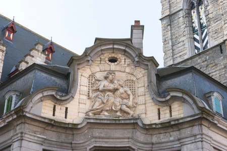 Antique fresco of the Mammelokker at side of Belfry in Ghent
