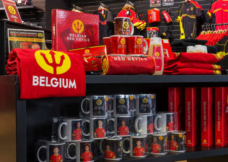 regalia: GENT, BELGIUM - CIRCA MARCH 2014  Commercial regalia for the Red Devils, the Belgian National Soccer Team