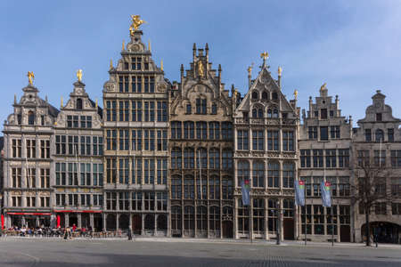 ANTWERPEN, BELGIUM - CIRCA MARCH 2104  Historic facades at the Grand Place in front of city hall  The world famous pub Den Engel  the Angel  is featured