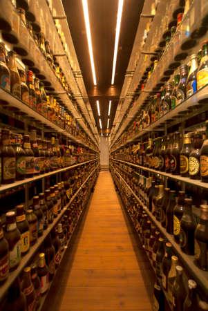 carlsberg: COPENHAGEN, DENMARK - CIRCA SEPTEMBER 2010: Worlds largest collection of +15 thousand beer bottles at Carlsberg brewery.