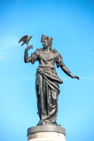 STOCKHOLM, SWEDEN - CIRCA SEPTEMBER 2010: Statue of the Norse Goddess Freya on the bridge to Djurgarden.