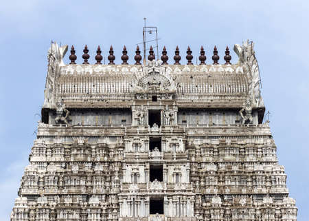 Annamalaiyar Temple in Thiruvannamalai is dedicated to Lord Shiva. The top of eastern gopuram.