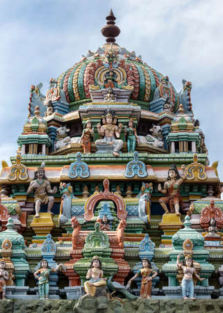 Tower on top of Murugan Shrine at Annamalaiyar temple in Thiruvannamalai.