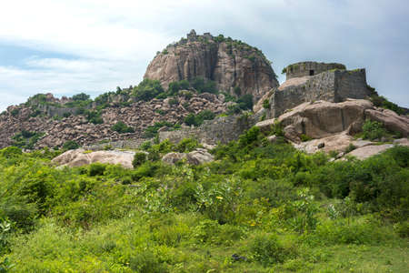 donjon: The ruins of Gingee Fort in Tamil Nadu, east of Thiruvannamalai, built on a rock. Editorial