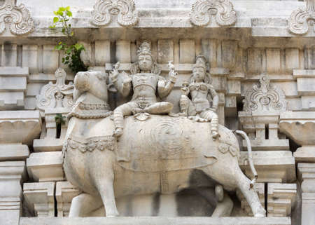 nandi: Lord Shiva and his wife Parvati sit on Nandi the bull. As seen on the eastern Gopuram of Thiruvannamalai Shiva temple in town.