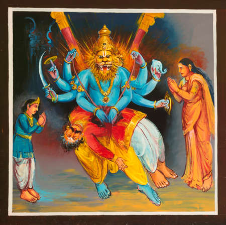 KUMBAKONAM, INDIA - OCTOBER 12, 2013: Mahalingeswarar Temple. Painting on the ceiling of the open hall, walkway to the inner sanctum. Lord Shiva defeats Narasimha, an avatar of Lord Vishnu. This is a very controversial story, rejected by the Vaishnavas, t