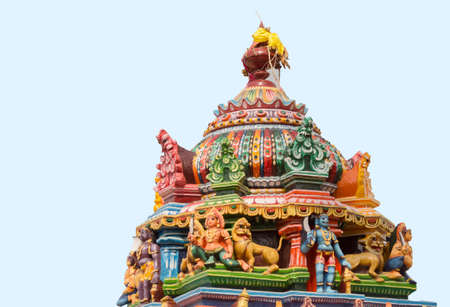 mariamman: Chettinad, India - October 17, 2013: Statue of Ayyanar and lions on colorful Vimanam of Mariamman temple in Kothamargalam. He defends the village. Editorial