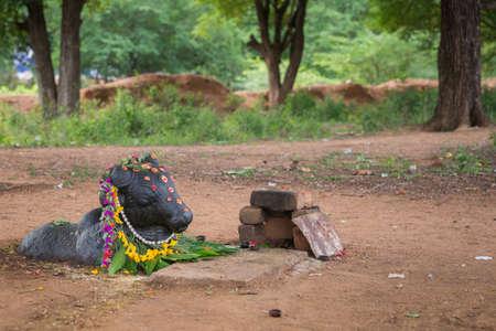 Chettinad, India - 17 oktober 2013: Oude Shiva schrijn in het bos in de buurt van Kothamangalam toont zwarte Nandi geconfronteerd met de Shivalingam. Hij is versierd met bloemen en ligt half ondergedompeld in het bruine vuil.