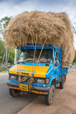 Madurai, India - October 18, 2013: A blue TATA Truck is overloaded with rice straw and parked off the road. Crew in cabin, front view.
