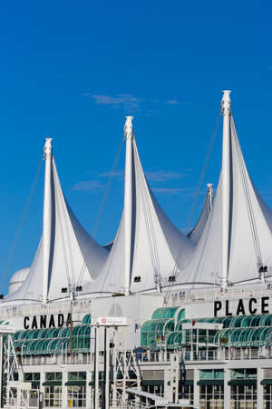 tipi: Vancouver, Canada - July 24, 2016: The white tent-like roof of Canada Place, the cruise terminal, against the blue skies.