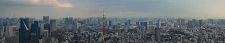 multitude: Tokyo, Japan - September 26, 2016: Panorama of Tokyo skyline shot off Observatory tower. Red Tokyo tower stands out in center of photo. Multitude of buildings under cloudy late afternoon sky.