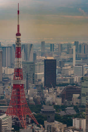 multitude: Tokyo, Japan - September 26, 2016: Aerial view since shot off Observatory tower. The red Tokyo tower stands out among the multitude of highrises. Zojo-ji Buddhist Temple is its  neighbor. Editorial