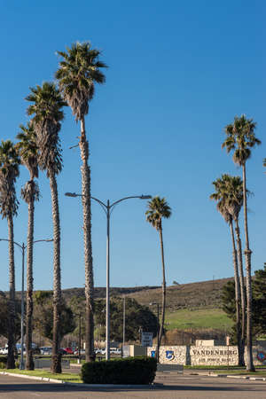 Lompoc, California, USA - January 14, 2017: The entrance of Vandenberg Air Force Base where Spacex launched this morning a Falcon 9 rocket transporting ten Iridium satellites. Blue sky and palm trees. Editorial