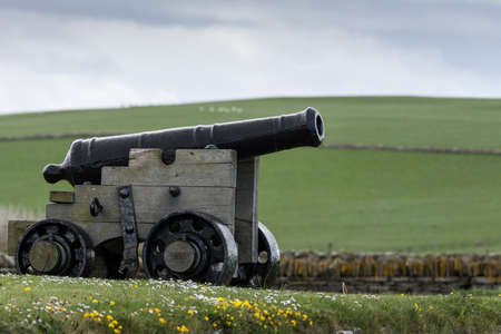 A black historic cannon stands in the wider area around Skara Brae Neolithic settlement standing in green meadow with white and yellow wild flowers. . White-blue sky. Stock Photo