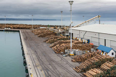 Napier, New Zealand - March 9, 2017: Overview of part of large timber harbor under cloudy sky. Heaps of brown tree trunks sawed at fixed length. Pacific Ocean in back. Building and light poles.