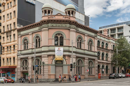 regent: Sydney, Australia - March 25, 2017: IFGF Christian Sect headquarters and church on corner of George and Regent street near Railway Station is a historic building. Banner of founder Sun Myung Moon. Editorial