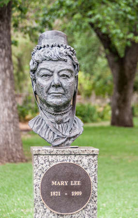Adelaide SA, Australia - November 20, 2009: Closeup of Gray metalic statue of the head of Mary Lee on marble pedestal set in green park. Editorial