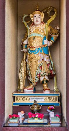 Hacienda Heights, CA, USA - March 23, 2018: Closeup of  Weo Tio Bodhisattva divine warrior statue at Bodhisattva hall of Hsi Lai Buddhist Temple.
