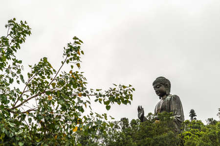 Hong Kong, China - March 7, 2019: Lantau Island. Tian Tan Buddha peeps over trees, statue from down under farther away under silver sky.
