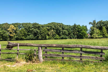Bokrijk, Belgium - June 27, 2019: Closeup of old gray wooden gate closure with tree balance beam to facilitate opening. Green wall of trees under blue sky.
