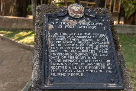 Manila, Philippines - March 5, 2019: Fort Santiago. Plaque as memorial for execution by Japan of over 600 Filipino and American prisoners at the fortress at end of February 1945. WW2.