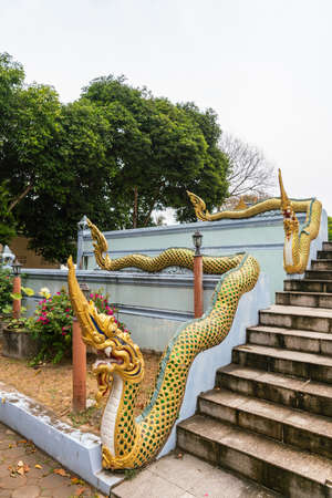 Ko Samui Island, Thailand - March 18, 2019: Wat Khunatam Buddhist Temple and monastery. Golden snake lends its body as handrail and head as newal post on stairway. Green foliage and silver sky. Stockfoto - 133201829