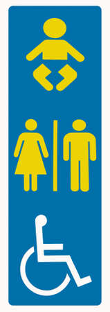 Melbourne, Australia - November 16, 2009: Closeup of blue sign pointing out toilet for women, men, disabled persons, wheelchair accessible, and babies.