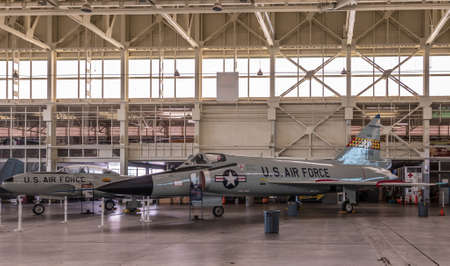 Oahu, Hawaii, USA. - January 10, 2020: Pearl Harbor Aviation Museum. Gray fighet jet 53366 in hangar. Beige roof. Natural light through windows.