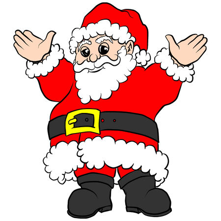 belt buckle: Santa Claus in red suit with gold belt buckle, holding hands raised waving