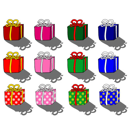 shadowed: Christmas Presents in red, pink, green and blue decorated with gold, silver, red and pink ribbon bows.  With plain, shadowed and snowflake patterned wrapping paper variations.