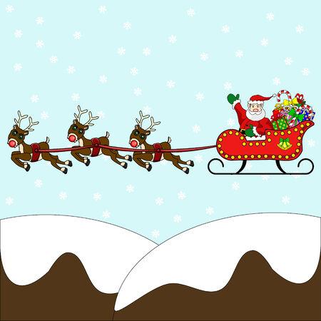 papa noel trineo: Agitando Vuelo de Pap� Noel en su trineo, lleno de regalos y regalos, sobre monta�as cubiertas de nieve con el reno de nariz roja y de nieve de fondo