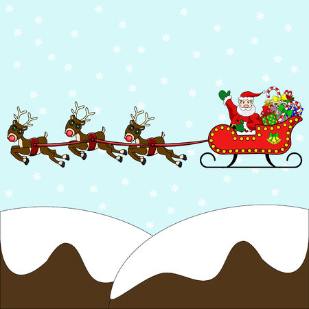 santa sleigh: Waving Santa Claus flying in his sleigh, packed with presents and gifts, over snow capped mountains with red nosed reindeer and snowing background