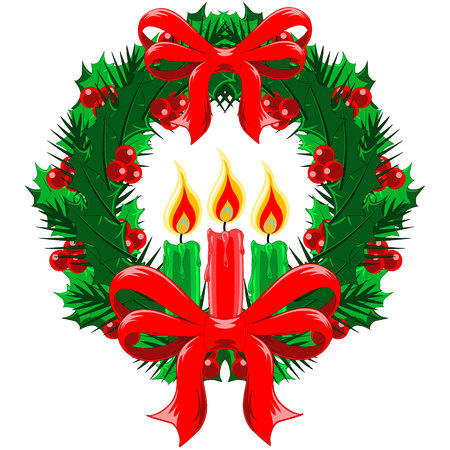 Christmas Wreath of holly, berries and mistletoe with red bows and red and green candles Vector