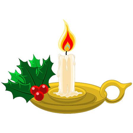 Bougie de Noël dans le support d'or de houx, baies et gui