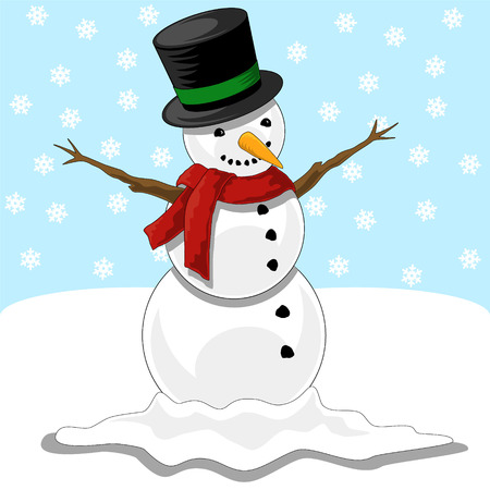 Happy Snowman with Black top hat with green trim, red scarf, tree branch arms and a carrot nose in snowing background Vector
