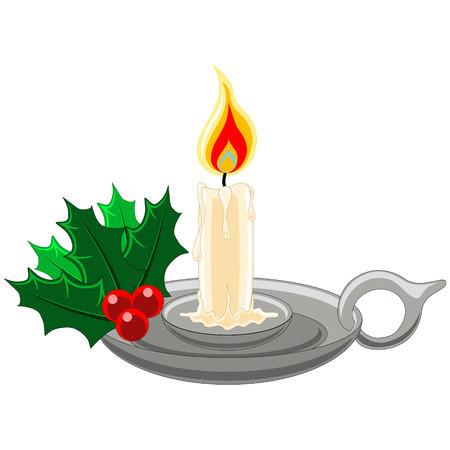 adventskranz: Weihnachtskerze in Silber Halter mit Stechpalme, Beeren und Mistel