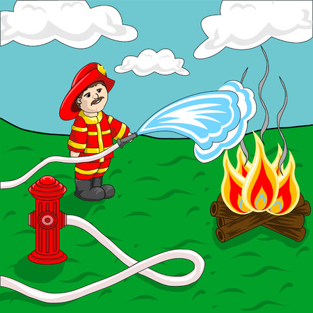 water hose: Fireman using fire hose and hydrant spraying water over campfire