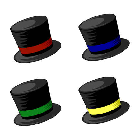 Four top hat vectors with red, blue green and yellow trims