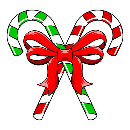 Green and red striped Christmas Candy Canes tied with red ribbon bow Vector