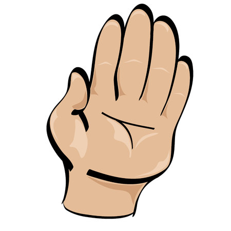 high five: Isolated vector cartoon style hand held up in stop gesture