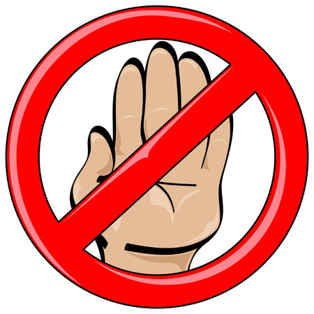 hand held: Isolated vector cartoon style hand held up in stop gesture inside red banned symbol
