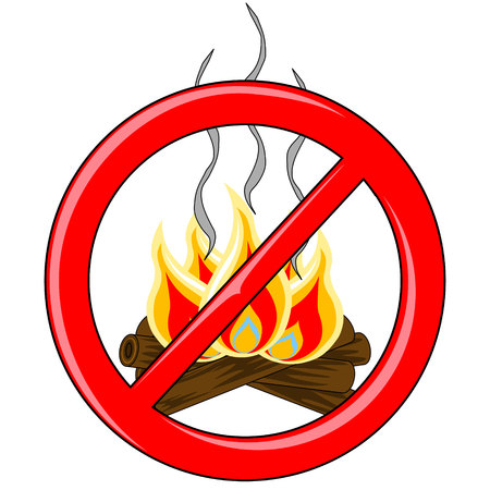 banned: Isolated Log campfire with burning flames and smoke trails inside red banned symbol