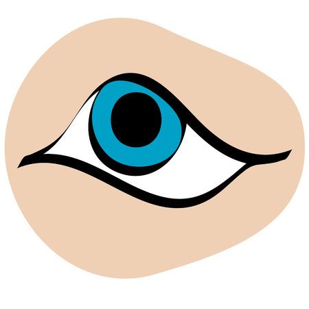 ojo azul: Ojo azul Simplemente arte vectorial de dibujos animados estilizado