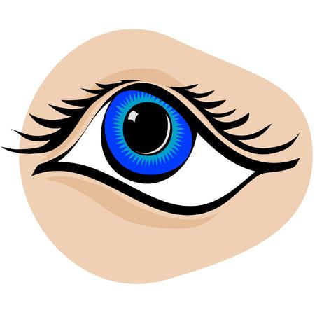 ojo azul: Arte vectorial detallado de dibujos animados estilizado ojo azul Vectores