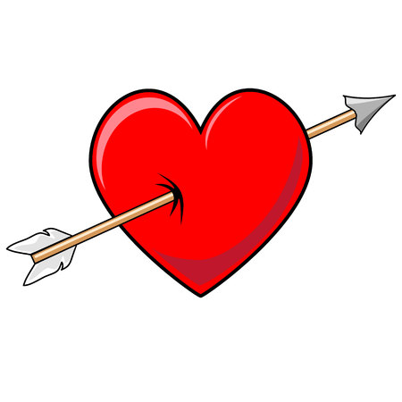 pierced: Valentines Heart with pierced with Cupids arrow vector graphic Illustration