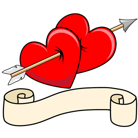 Pair of Valentines Heart with pierced together with Cupids arrow and scroll decoration beneath, vector graphic Vector