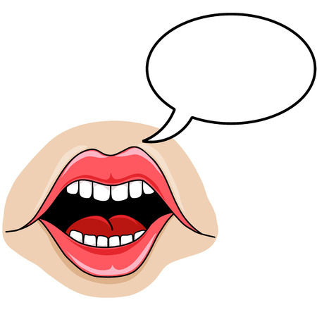 tongue woman: Cartoon Style vector art mouth with speech bubble. Isolated Vector
