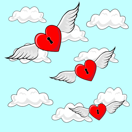 though: Valentines heart locks, flying on Angel Wings though cloudy blue sky