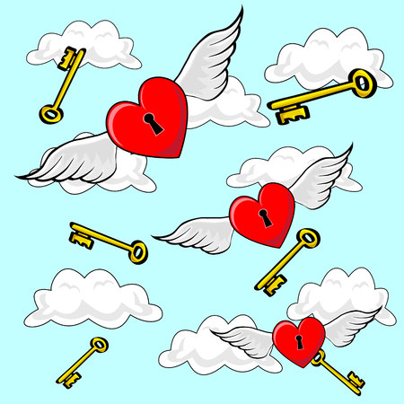 though: Valentines heart locks, flying on Angel Wings though cloudy blue sky and falling keys in background